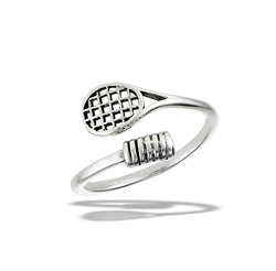 Sterling Silver Adjustable Tennis Racqet Ring