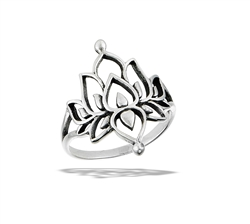 Sterling Silver Double Lotus Ring