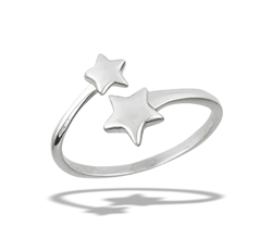 Sterling Silver Adjustable Stars Ring