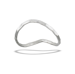Sterling Silver Curved, Hammered Ring
