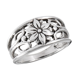 Sterling Silver Flower With Swirls Ring
