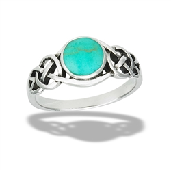 Sterling Silver Celtic Knot Ring With Synthetic Turquoise