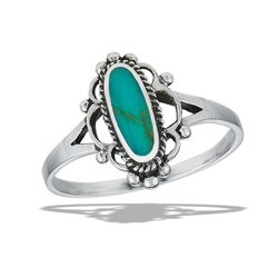 Sterling Silver Bali Style Ring With Synthetic Turquoise And Braiding