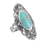 Sterling Silver Ring with Marcasite and Synthetic Turquoise