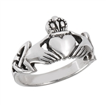 Sterling Silver Claddagh with Triquetra Ring