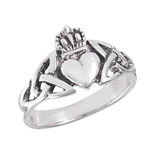 Sterling Silver Claddagh With Triquetras Ring