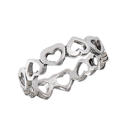Sterling Silver Endless Inverted Heart Ring