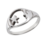 Sterling Silver Moon and Star Ring