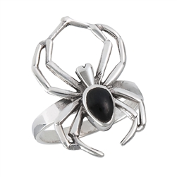 Sterling Silver Spider Ring with Synthetic Black Onyx