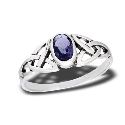 f71bbc43d6fce Sterling Silver Celtic Ring with Synthetic Amethyst