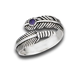 Sterling Silver Adjustable Feather Ring With Synthetic Amethyst