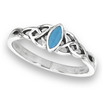 Sterling Silver Celtic Ring with Synthetic Turquoise