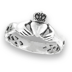 Sterling Silver Claddagh With Celtic Weave Ring