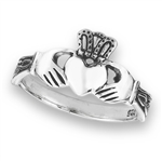 Sterling Silver Claddagh Ring With Side Triquetras