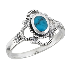 Sterling Silver Ring With Synthetic Turquoise