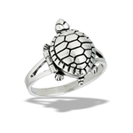 Sterling Silver Turtle Poison Ring (Opens)