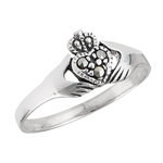 Sterling Silver Claddaugh Ring with Marcasite