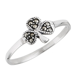 Sterling Silver Shamrock Ring with Marcasite