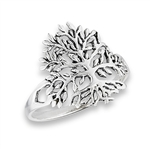 Detailed 17 mm Sterling Silver Tree Of Life Ring in Wholesale Bulk Purchasing