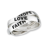 Sterling Silver Triple Band Hope, Love, and Faith Ring