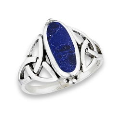 Sterling Silver Celtic Knot Ring with Synthetic Sodalite