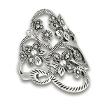 Sterling Silver Flower Ring with marcasite