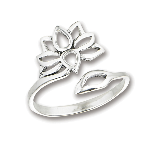 Sterling Silver Adjustable Lotus Flower Ring