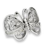 Sterling Silver Medium Filigree Butterfly Ring
