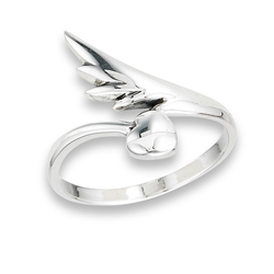 Sterling Silver Feather And Heart Ring