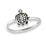 Sterling Silver Crawling Turtle Ring