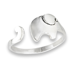 Sterling Silver Elephant with Long Trunk Ring