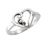 Sterling Silver Heart Ring With Swirls