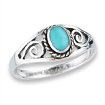 Sterling Silver Scroll Ring With Synthetic Turquoise