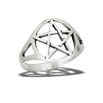 Sterling Silver Classic, High Polish, Heavy Pentagram Ring