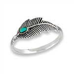 Sterling Silver Feather Ring With Synthetic Turquoise