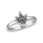 Sterling Silver Marijuana Leaf Ring