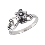 Sterling Silver Flower With Leaves Ring