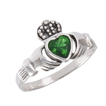 Sterling Silver Claddagh Ring with Synthetic Emerald