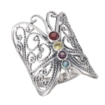 Sterling Silver Butterfly Ring with Mixed CZ