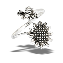 Sterling Silver Bumble Bee Hovering Over Sunflower Ring