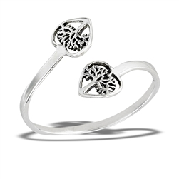 Sterling Silver Adjustable Double Tree Of Life Inside Heart Ring