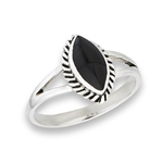 Sterling Silver Marquis Synthetic Black Onyx Ring With Braid Ring