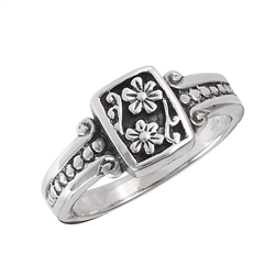 Sterling Silver Flower With Scroll And Dots Ring