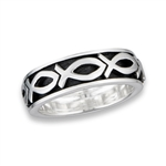 Sterling Silver Heavy Spinning Ichthus Ring