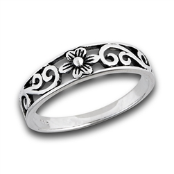 Sterling Silver Flower Ring With Side Scrolling