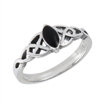Sterling Silver Celtic Ring with Synthetic Black Onyx