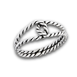 Sterling Silver Interwoven Double Loop Rope Ring