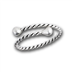 Sterling Silver Adjustable Weave With Ball Ring