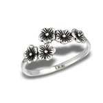 Sterling Silver Chain Of Flowers Ring