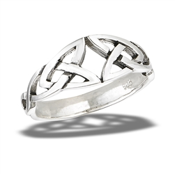 Sterling Silver Heavy Double Triquetra Celtic Ring